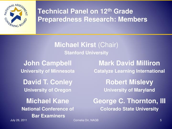Technical Panel on 12