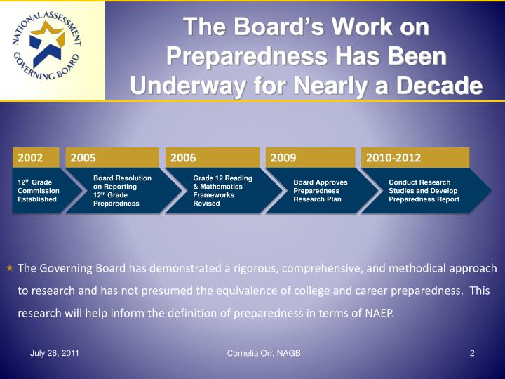 The board s work on preparedness has been underway for nearly a decade