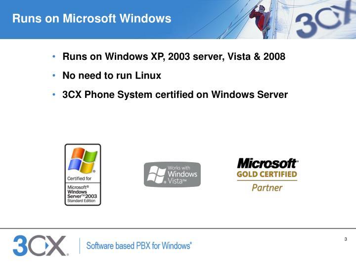 Runs on Microsoft Windows