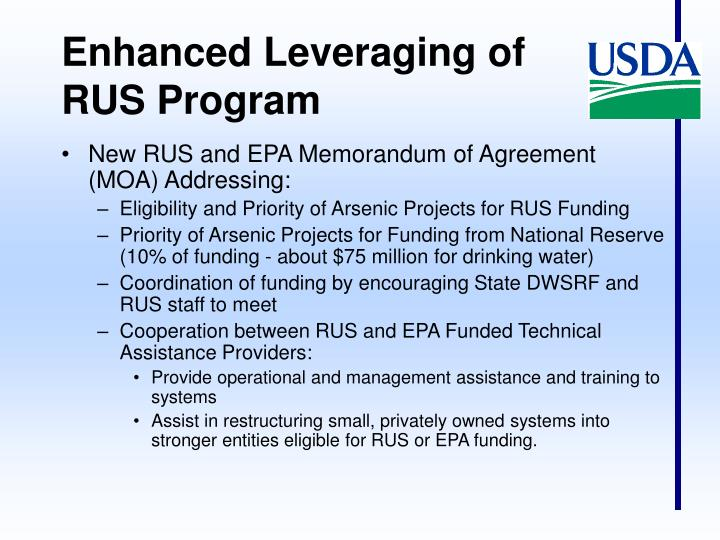 Enhanced Leveraging of RUS Program