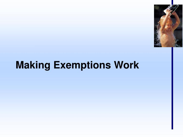 Making Exemptions Work