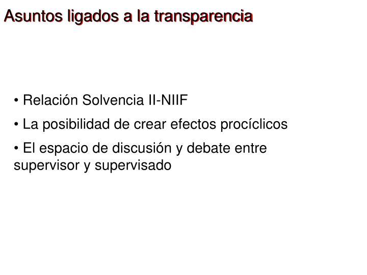 Asuntos ligados a la transparencia