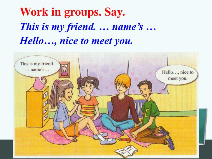 Work in groups. Say.