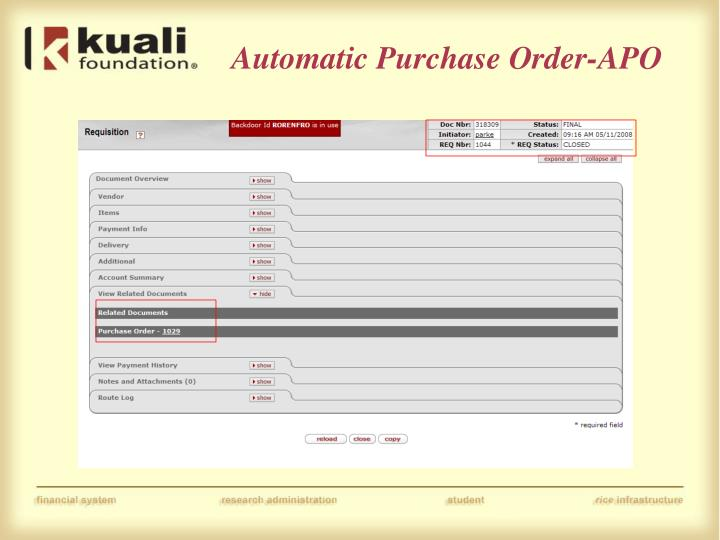Automatic Purchase Order-APO