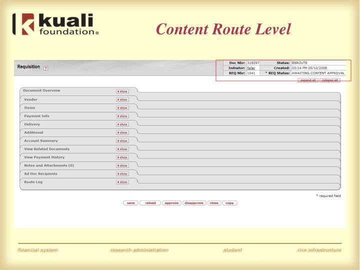 Content Route Level