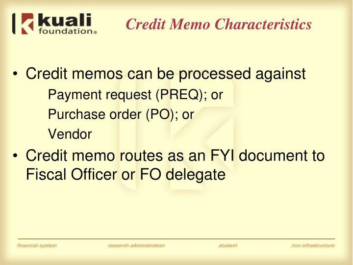Credit Memo Characteristics