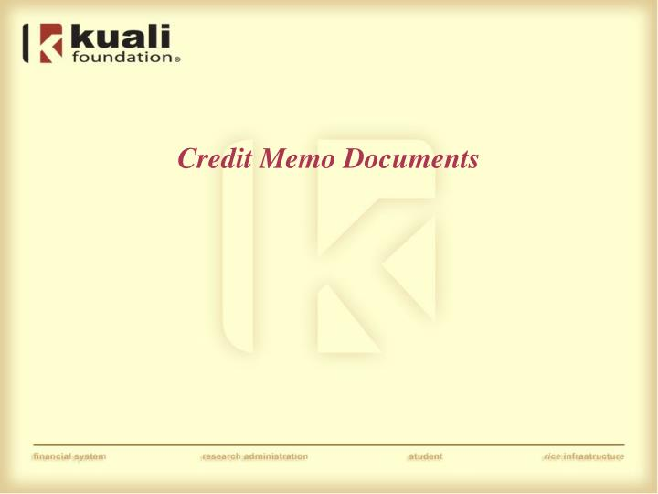 Credit Memo Documents