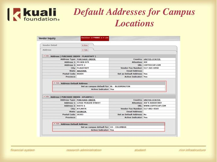 Default Addresses for Campus Locations