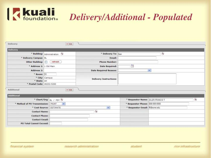 Delivery/Additional - Populated