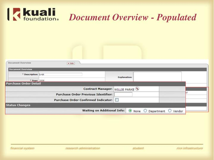 Document Overview - Populated
