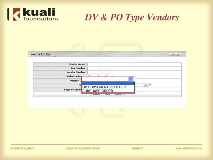 DV & PO Type Vendors