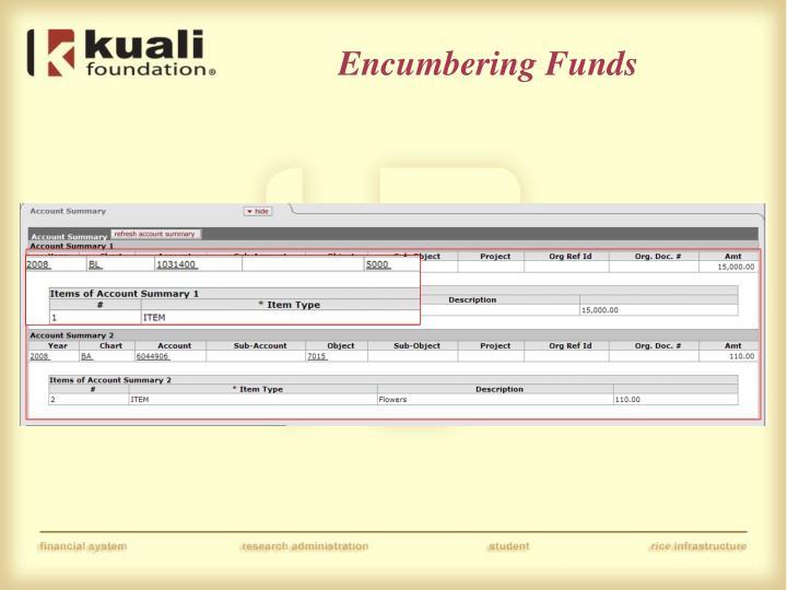 Encumbering Funds