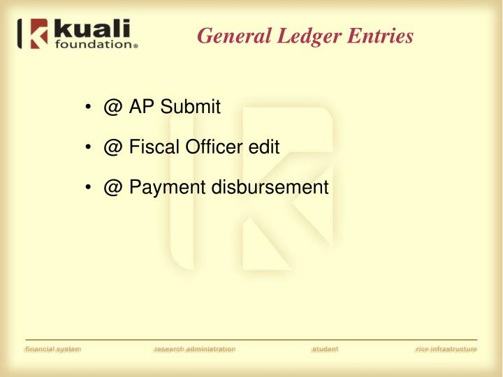 General Ledger Entries