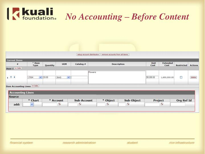 No Accounting – Before Content