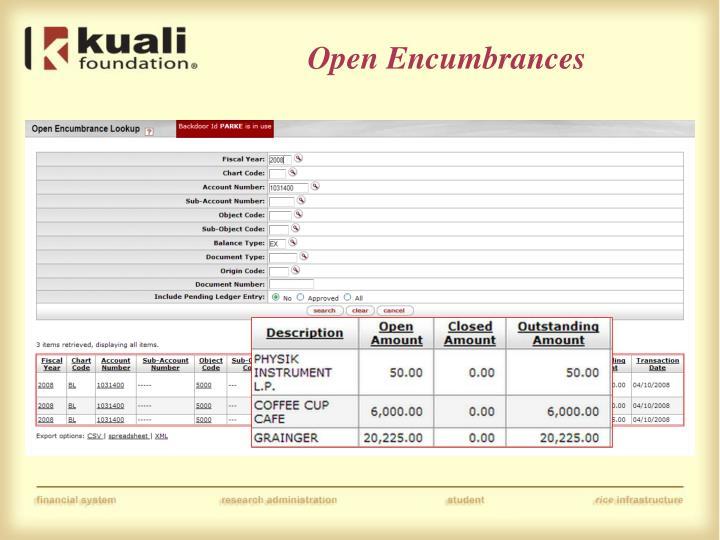 Open Encumbrances