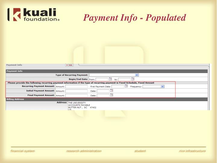 Payment Info - Populated