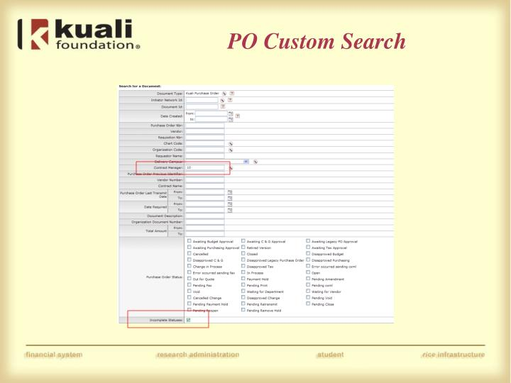 PO Custom Search