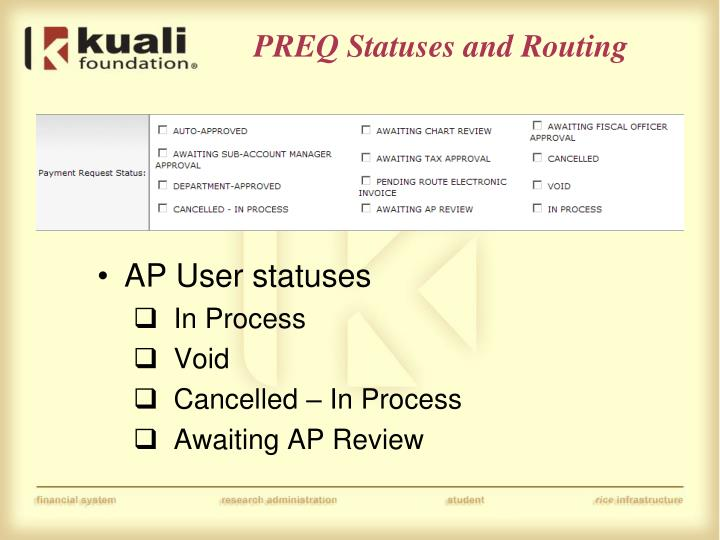 PREQ Statuses and Routing