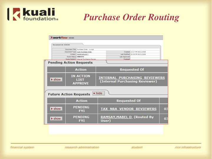 Purchase Order Routing