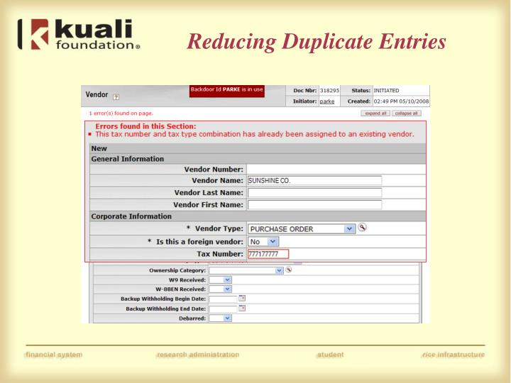 Reducing Duplicate Entries