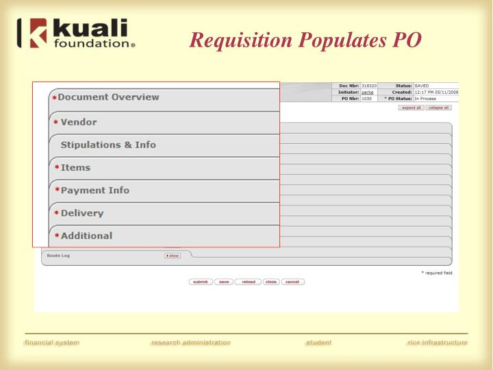 Requisition Populates PO