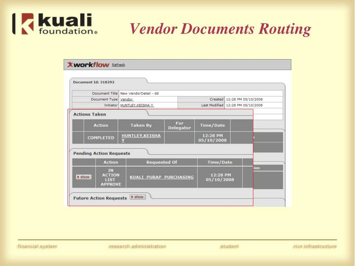 Vendor Documents Routing