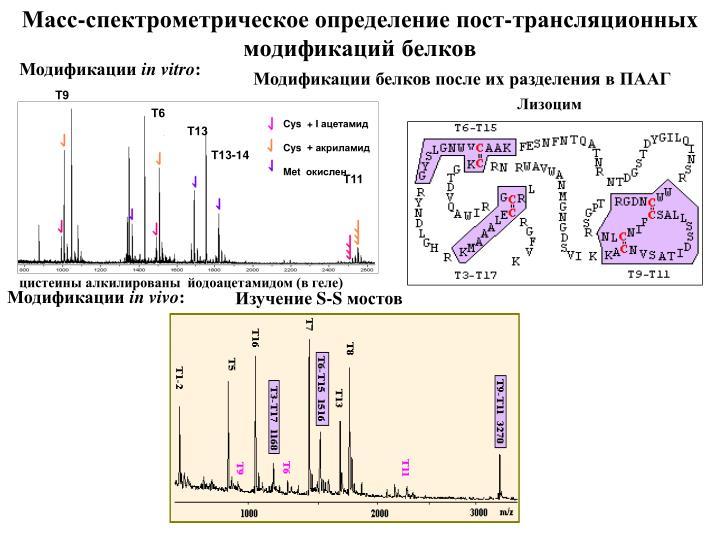 Масс-спектрометрическое определение пост-трансляционных модификаций белков