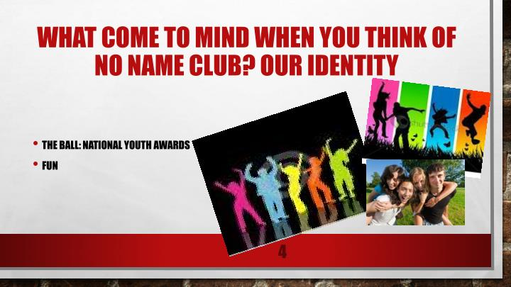 WHAT COME TO MIND WHEN YOU THINK OF NO NAME CLUB? OUR IDENTITY