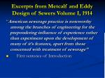 excerpts from metcalf and eddy design of sewers volume i 1914