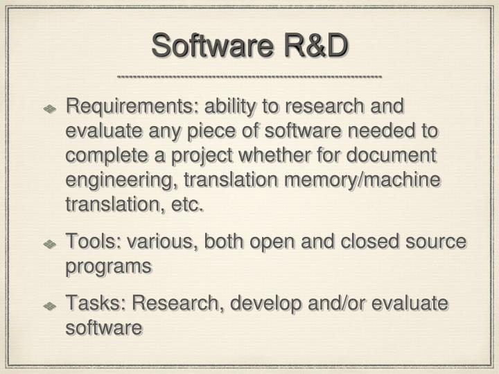 Software R&D