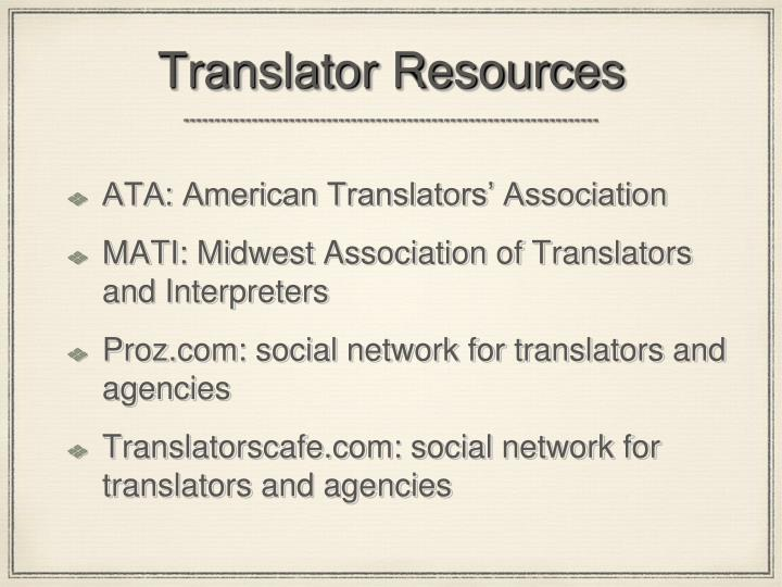 Translator Resources