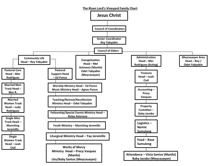 The risen lord s vineyard family chart