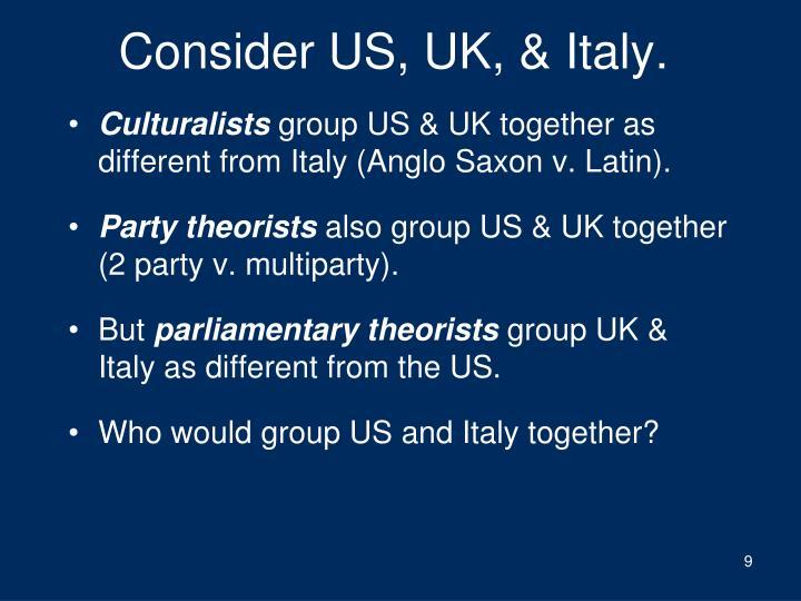 Consider US, UK, & Italy.