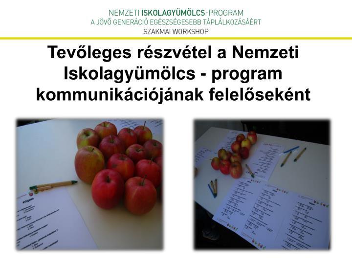 Tevőleges részvétel a Nemzeti Iskolagyümölcs - program kommunikációjának felelőseként