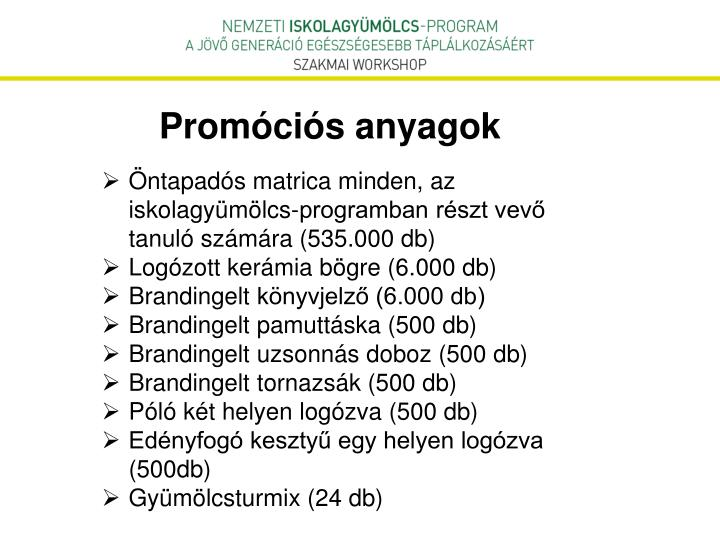 Promóciós anyagok