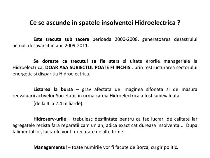 Ce se ascunde in spatele insolventei Hidroelectrica ?