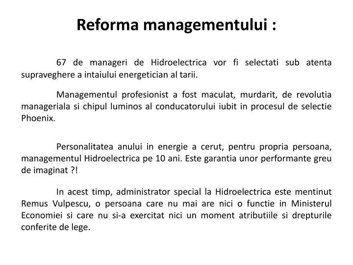 Reforma managementului :