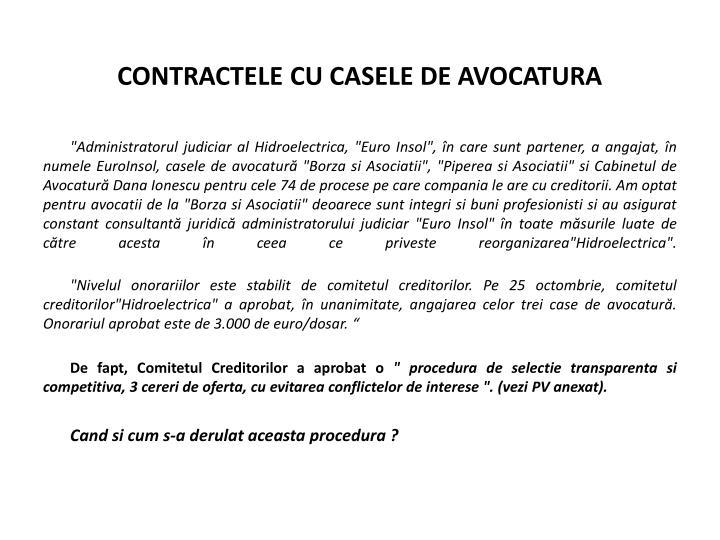 CONTRACTELE CU CASELE DE AVOCATURA