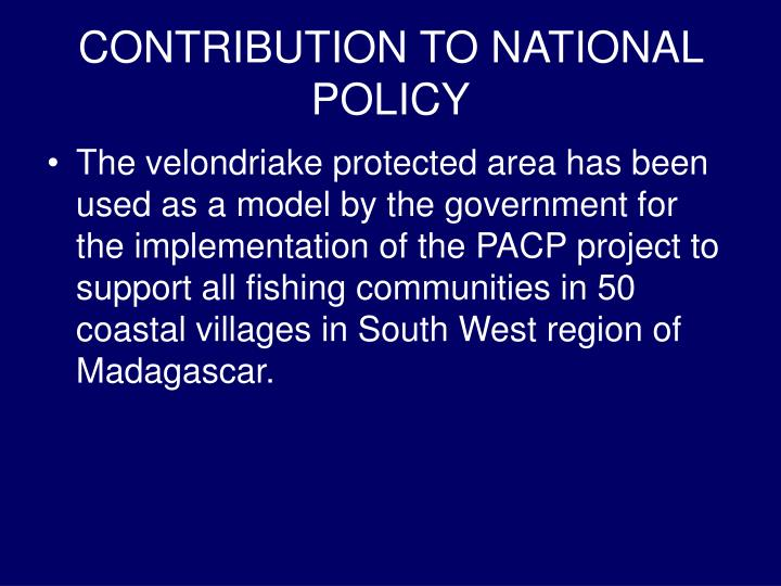 CONTRIBUTION TO NATIONAL POLICY