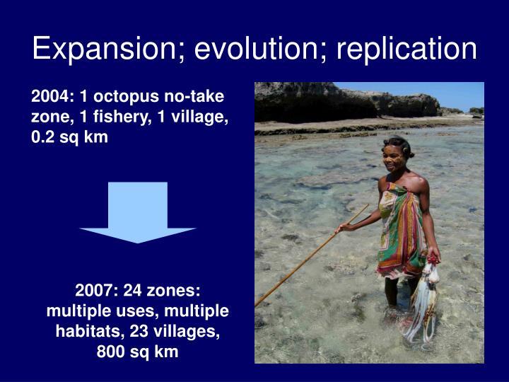 Expansion; evolution; replication