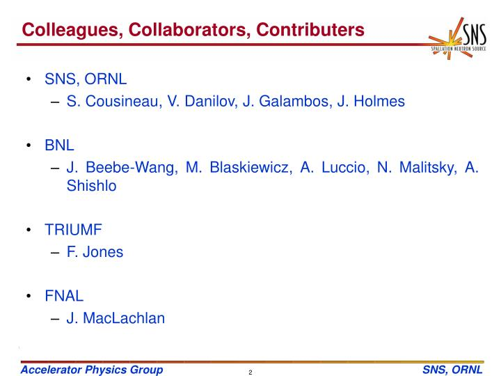 Colleagues, Collaborators, Contributers