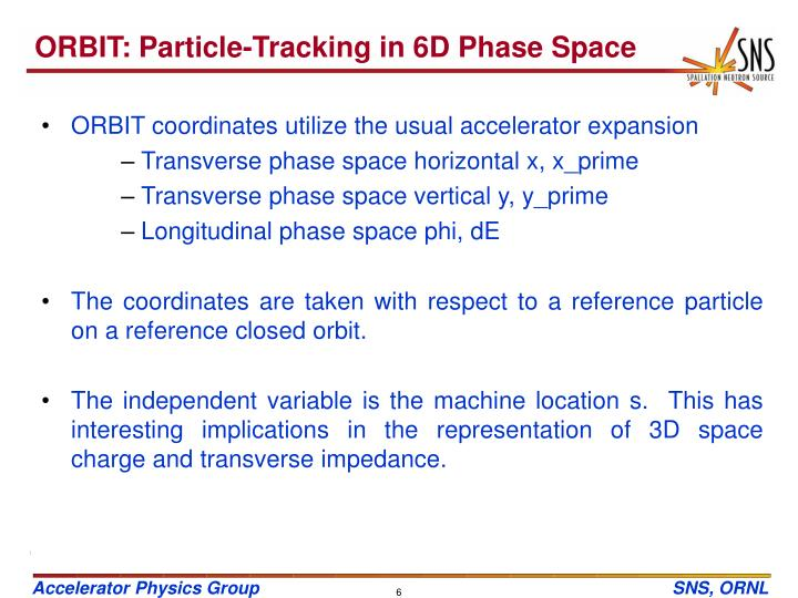 ORBIT: Particle-Tracking in 6D Phase Space