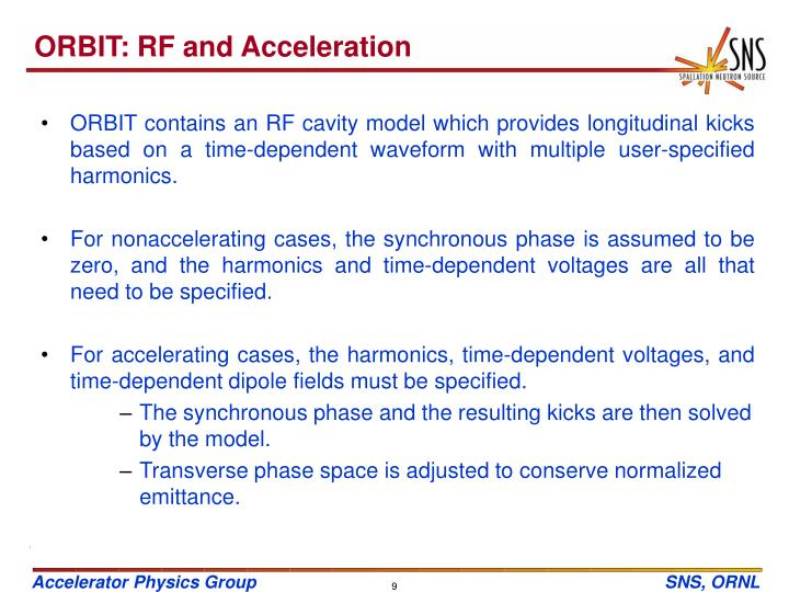 ORBIT: RF and Acceleration