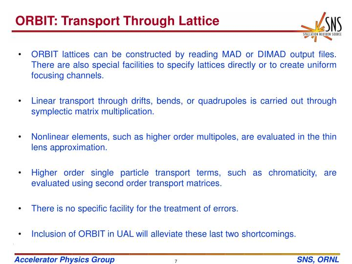 ORBIT: Transport Through Lattice