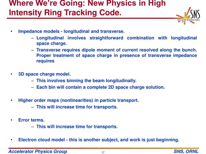 Where We're Going: New Physics in High Intensity Ring Tracking Code.