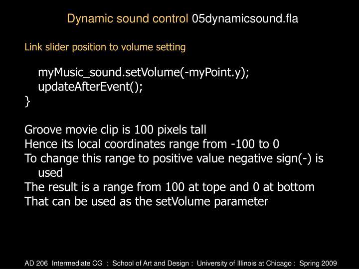 Link slider position to volume setting