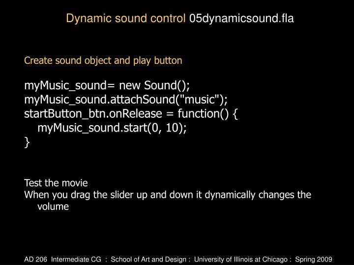 Create sound object and play button