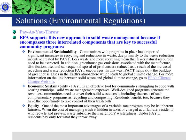Solutions (Environmental Regulations)