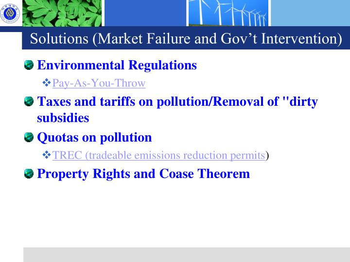 Solutions (Market Failure and Gov't Intervention)
