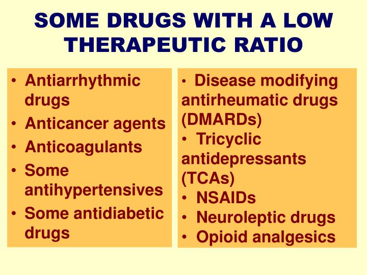 SOME DRUGS WITH A LOW THERAPEUTIC RATIO